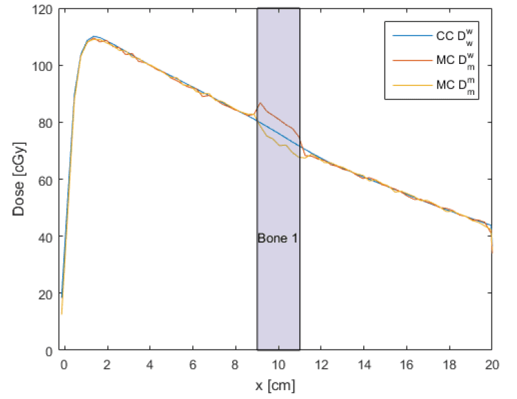Comparison of collapsed cone (CC) dose to water with water radiation transport with Monte Carlo (MC) dose to medium with medium radiation transport and dose to water with medium transport. Note that CC dose to water is closer than MC dose to water to MC dose to medium. Image credit: RayStation.